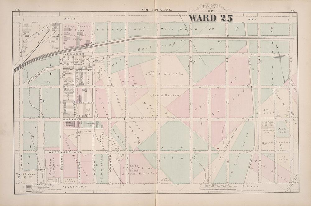 City Atlas of Philadelphia, 25th Ward, 1875, Plate L