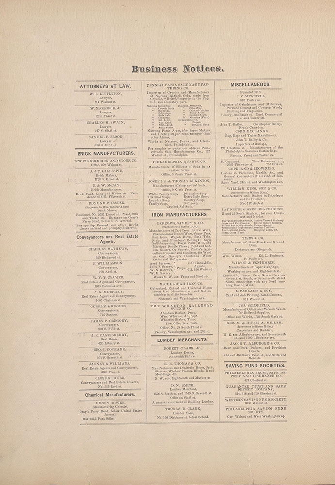 City Atlas of Philadelphia, 1st, 26th and 30th Wards, 1876, Business Notices