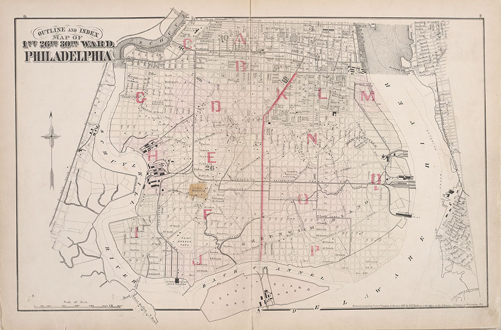 City Atlas of Philadelphia, 1st, 26th and 30th Wards, 1876, Index Map