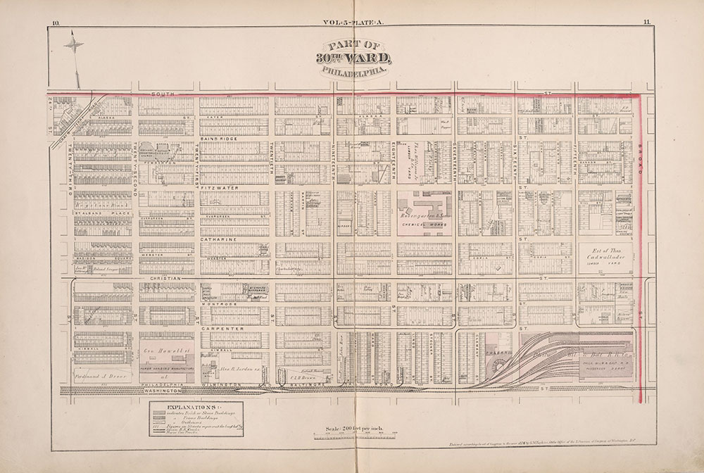 City Atlas of Philadelphia, 1st, 26th and 30th Wards, 1876, Plate A