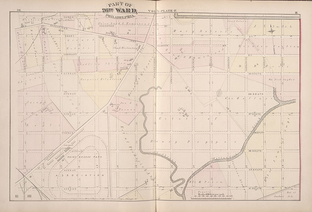 City Atlas of Philadelphia, 1st, 26th and 30th Wards, 1876, Plate F