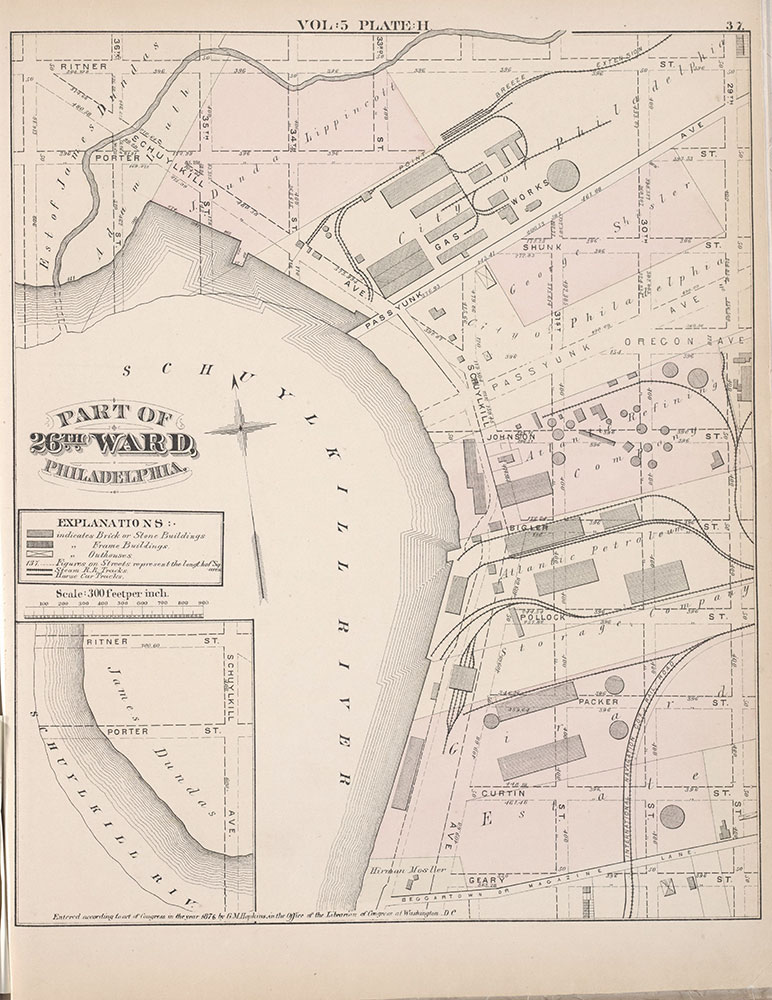 City Atlas of Philadelphia, 1st, 26th and 30th Wards, 1876, Plate H