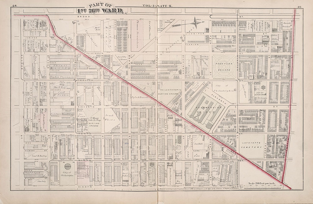 City Atlas of Philadelphia, 1st, 26th and 30th Wards, 1876, Plate K