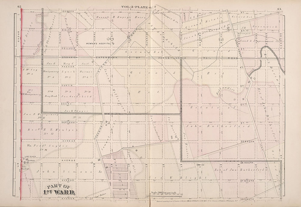 City Atlas of Philadelphia, 1st, 26th and 30th Wards, 1876, Plate O