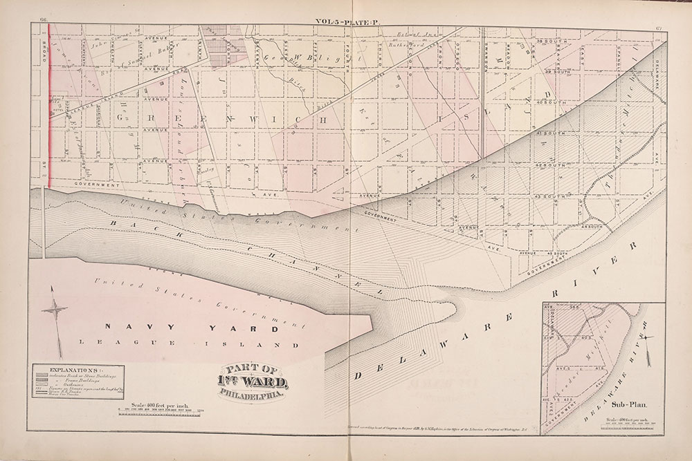 City Atlas of Philadelphia, 1st, 26th and 30th Wards, 1876, Plate P