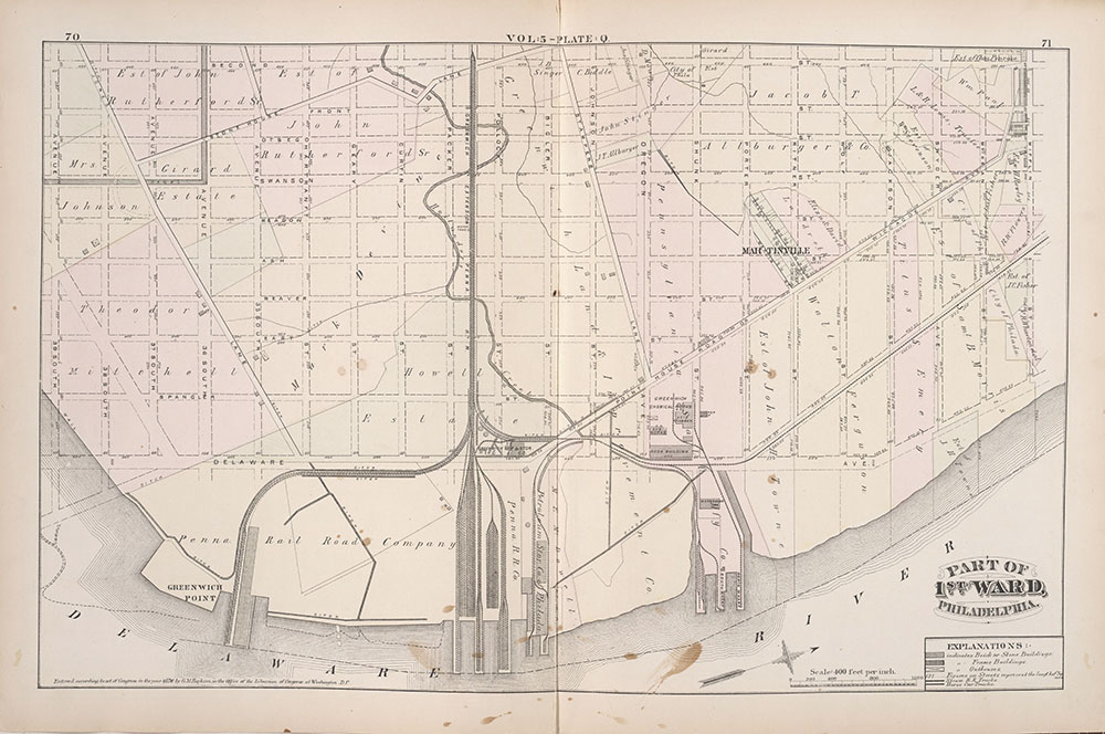 City Atlas of Philadelphia, 1st, 26th and 30th Wards, 1876, Plate Q