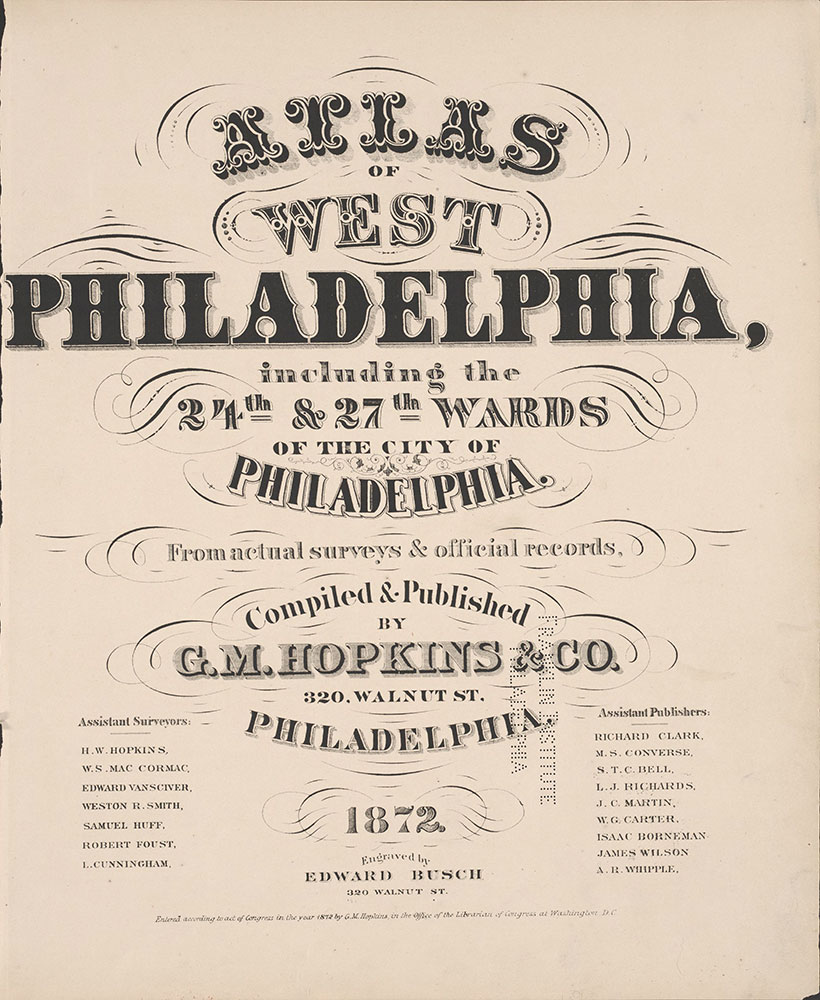 City Atlas of Philadelphia, 24th and 27th Wards, 1872, Title Page