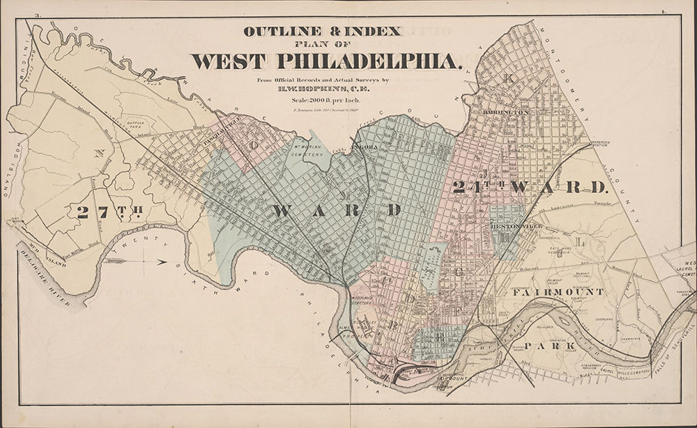 City Atlas of Philadelphia, 24th and 27th Wards, 1872, Index Map