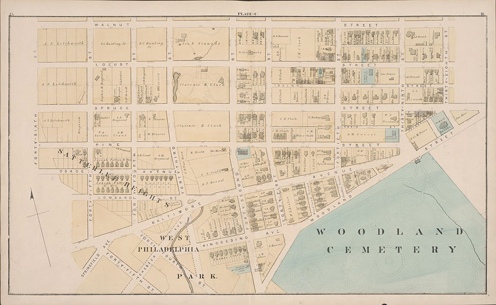 City Atlas of Philadelphia, 24th and 27th Wards, 1872, Plate C