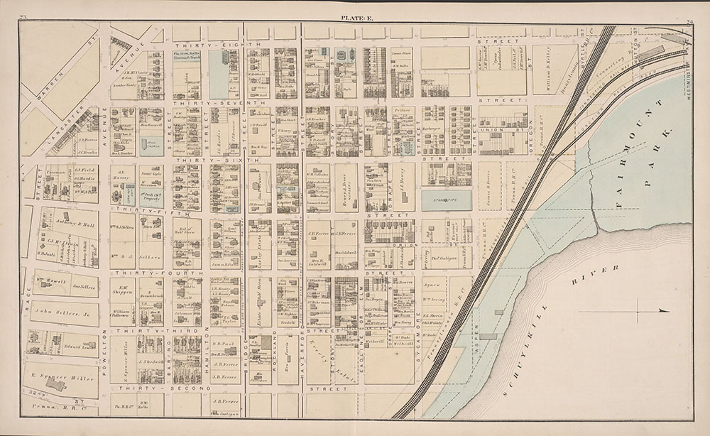 City Atlas of Philadelphia, 24th and 27th Wards, 1872, Plate E