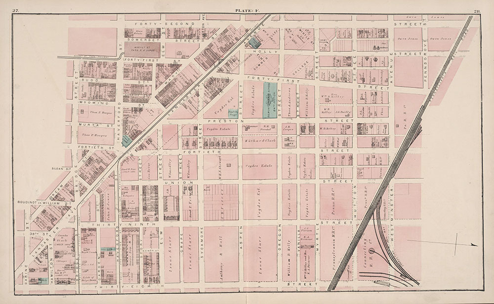 City Atlas of Philadelphia, 24th and 27th Wards, 1872, Plate F