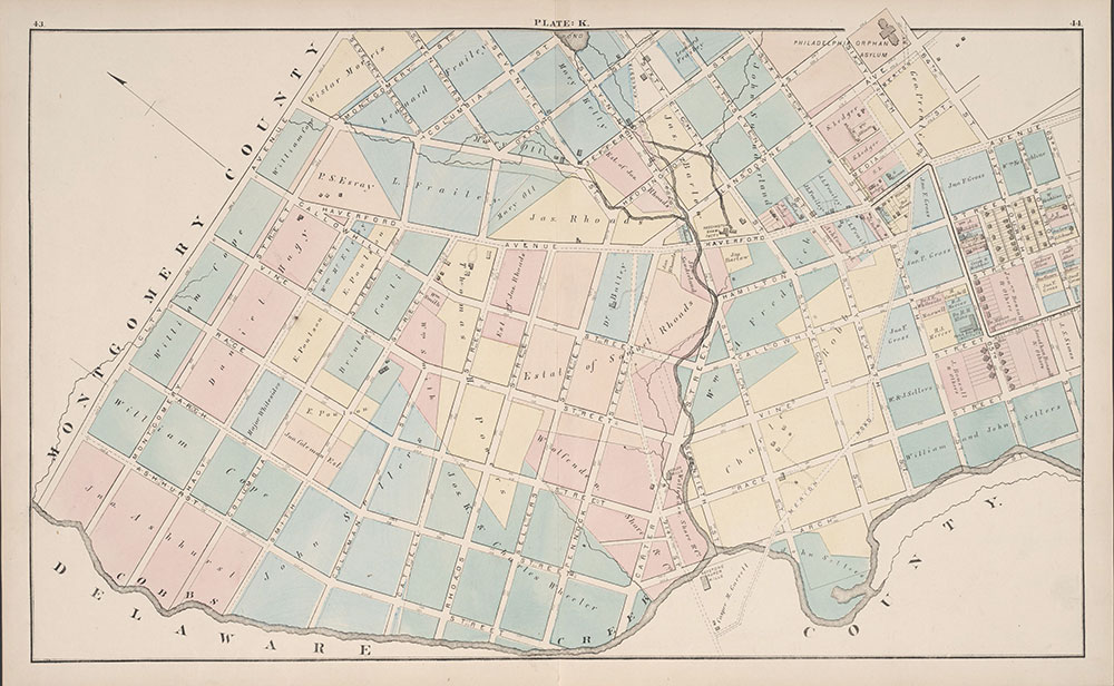 City Atlas of Philadelphia, 24th and 27th Wards, 1872, Plate K