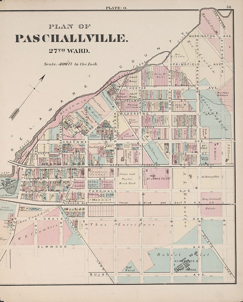 City Atlas of Philadelphia, 24th and 27th Wards, 1872, Plate O