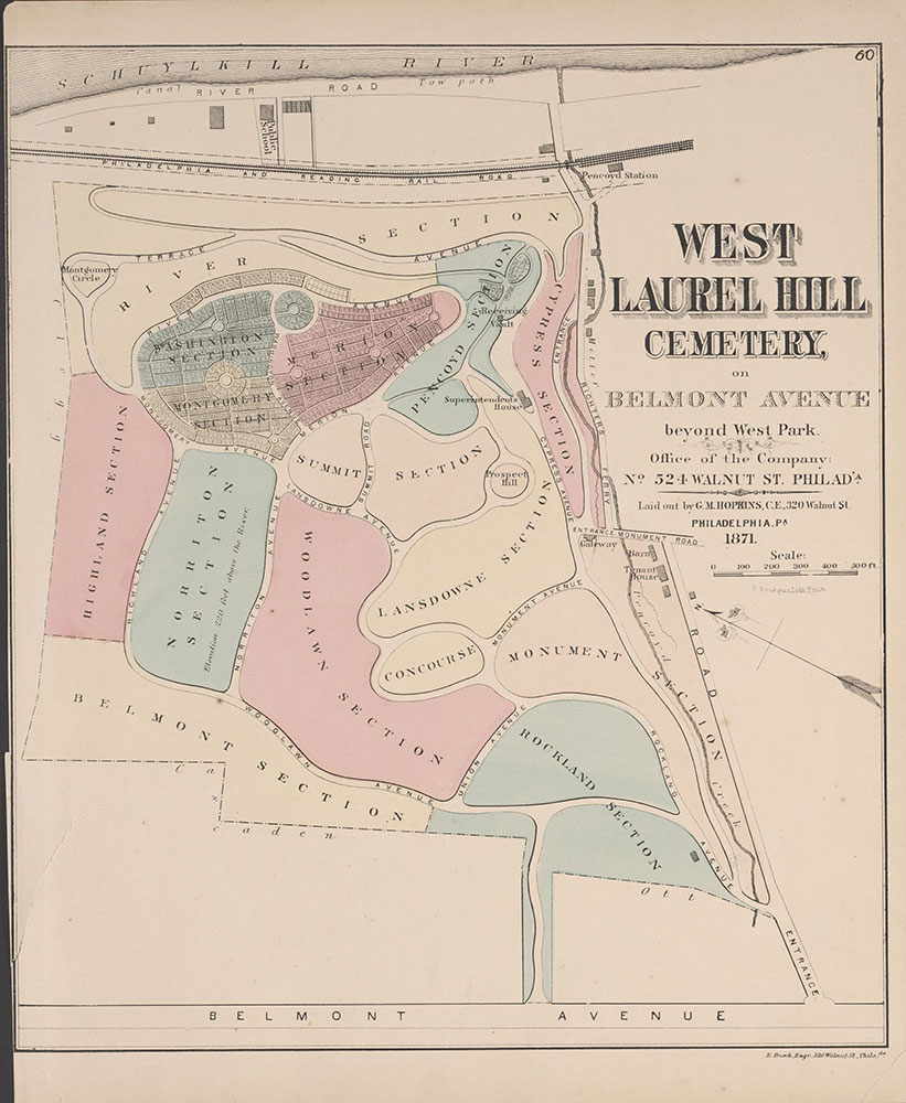 City Atlas of Philadelphia, 24th and 27th Wards, 1872, West Laurel Hill Cemetery