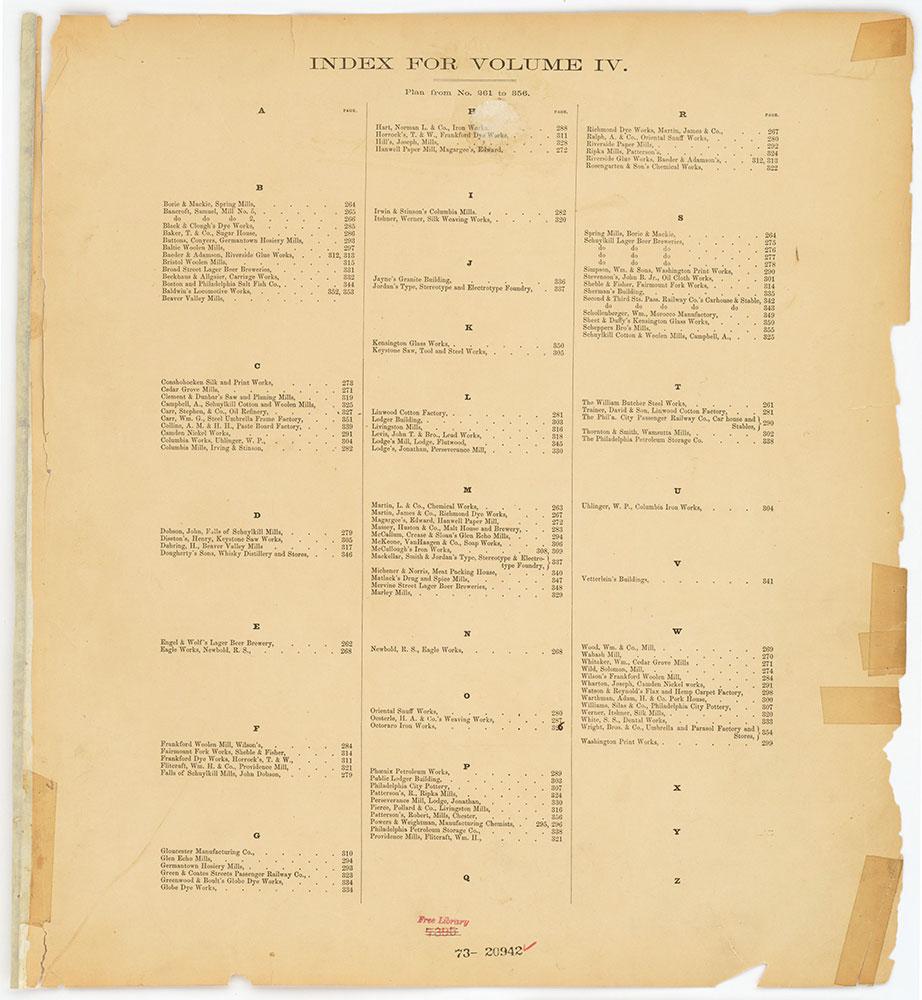 Hexamer General Surveys, Volume 4, Index Plate (261-356) [Vol. 4]