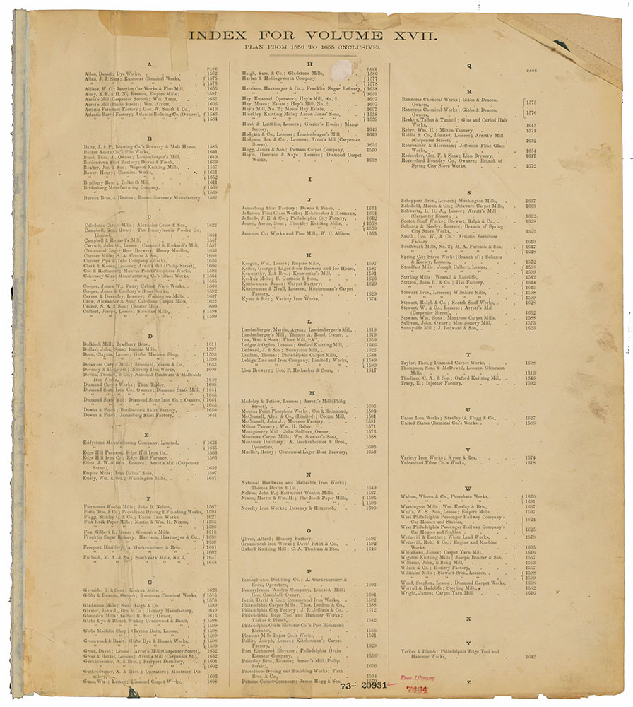 Hexamer General Surveys, Volume 17, Index Plate (1556-1655) [Vol. 17]