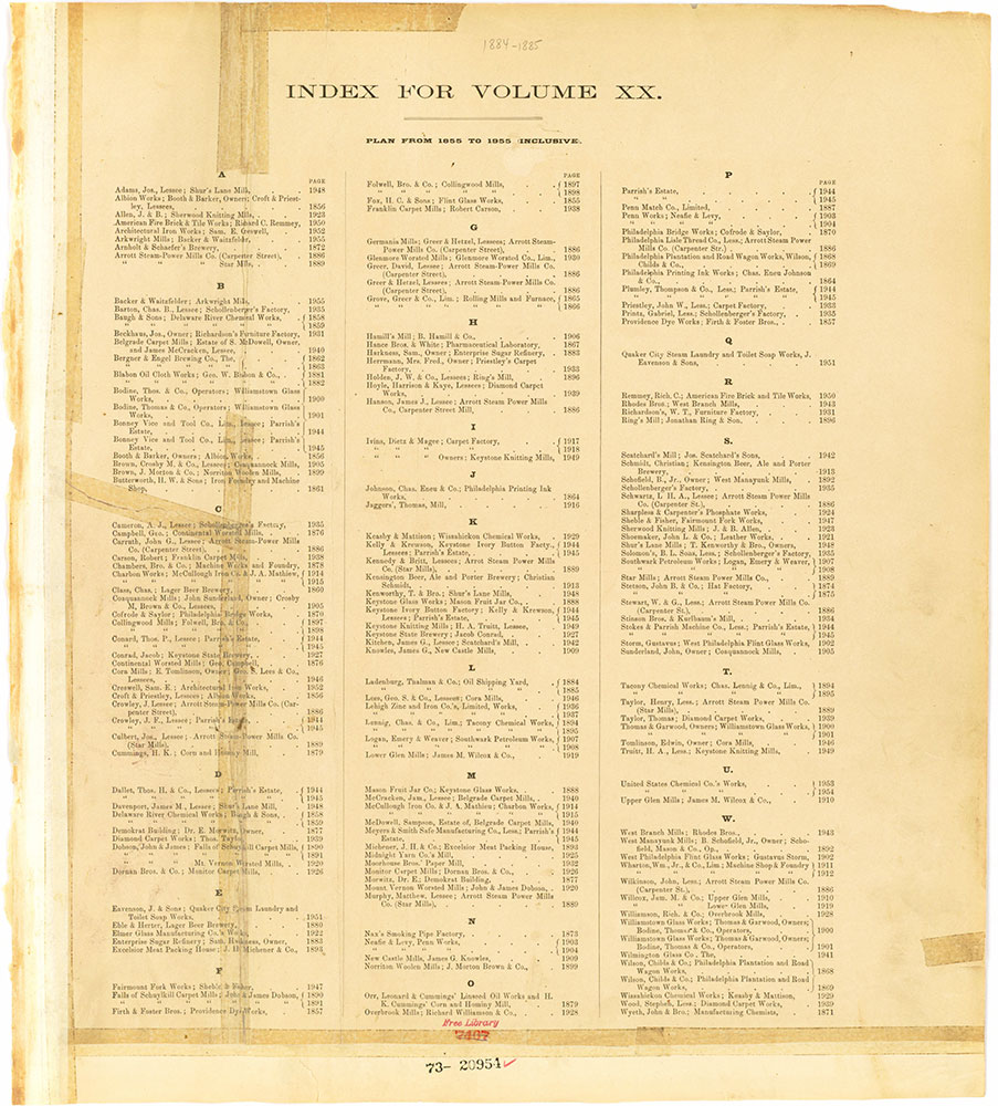 Hexamer General Surveys, Volume 20, Index Plate (1855-1955) [Vol. 20]