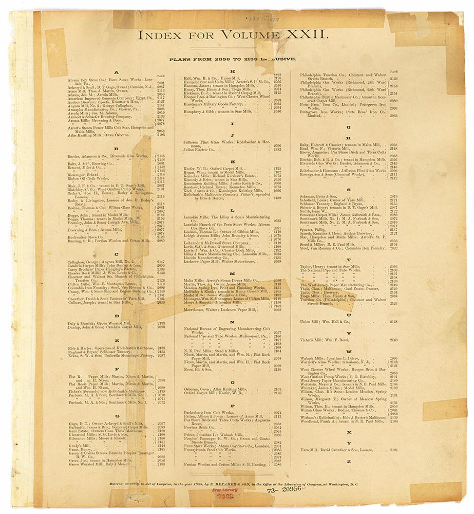 Hexamer General Surveys, Volume 22, Index Plate (2056-2155) [Vol. 22]