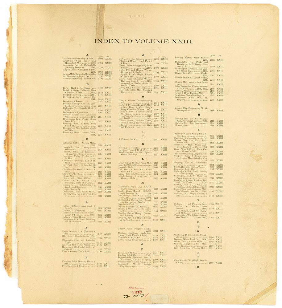 Hexamer General Surveys, Volume 23, Index Plate (2156-2255) [Vol. 23]