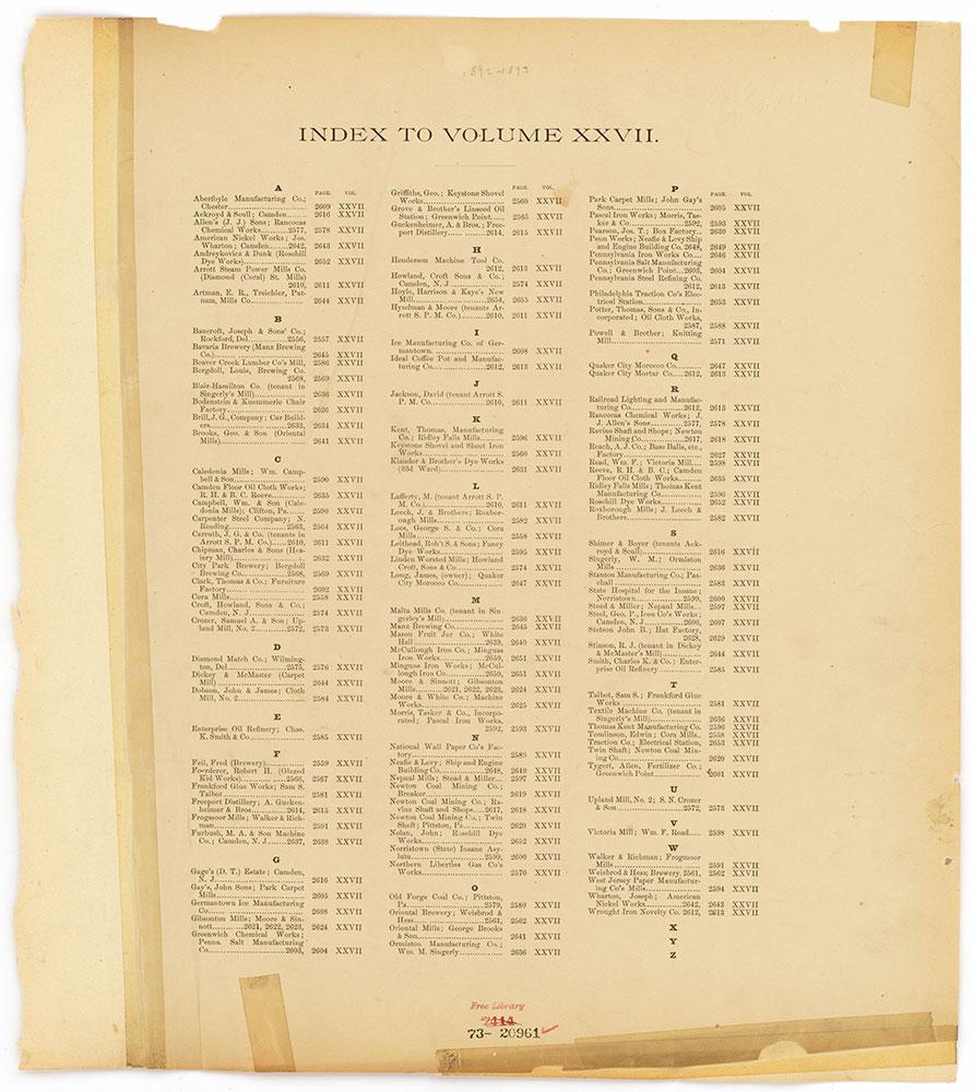 Hexamer General Surveys, Volume 27, Index Plate (2556-2655) [Vol. 27]