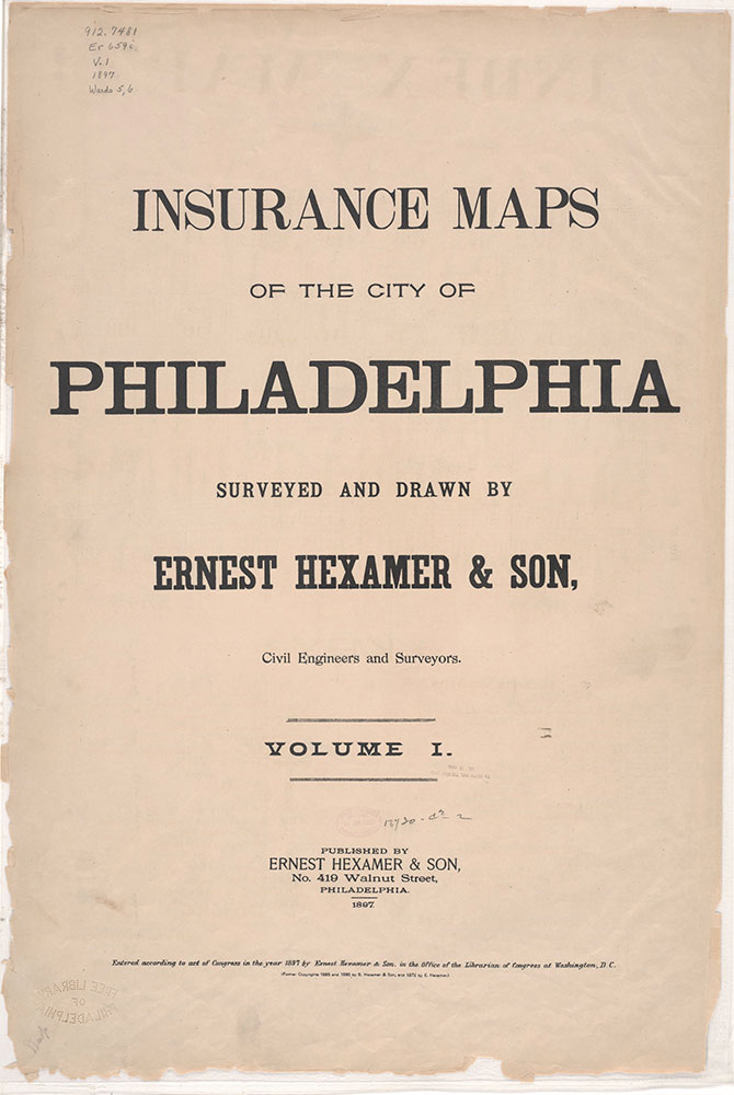 Insurance Maps of the City of Philadelphia, 1897, Title Page
