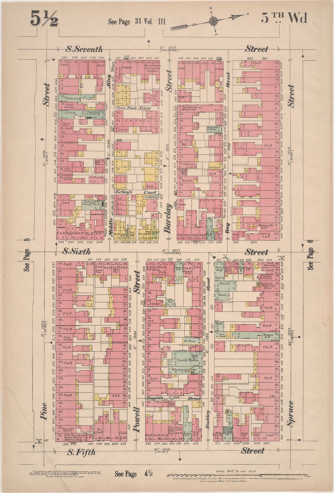 Insurance Maps of the City of Philadelphia, 1897, Plate 5 1/2