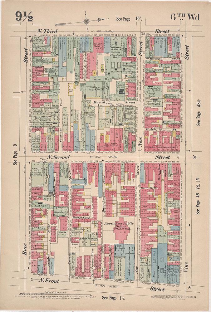 Insurance Maps of the City of Philadelphia, 1897, Plate 9 1/2
