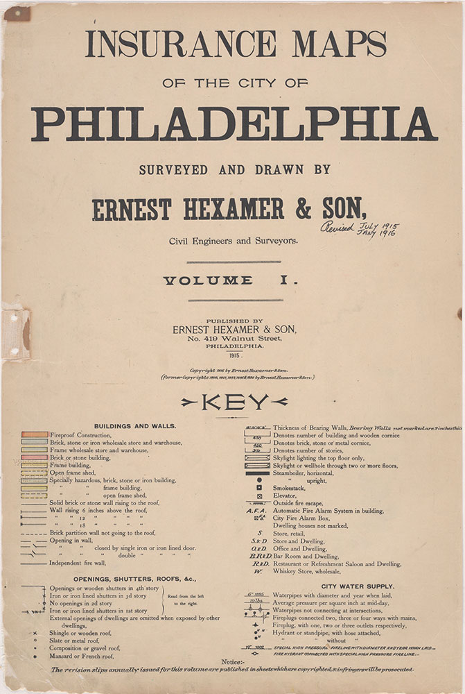 Insurance Maps of the City of Philadelphia, 1915-1916, Title Page and Key
