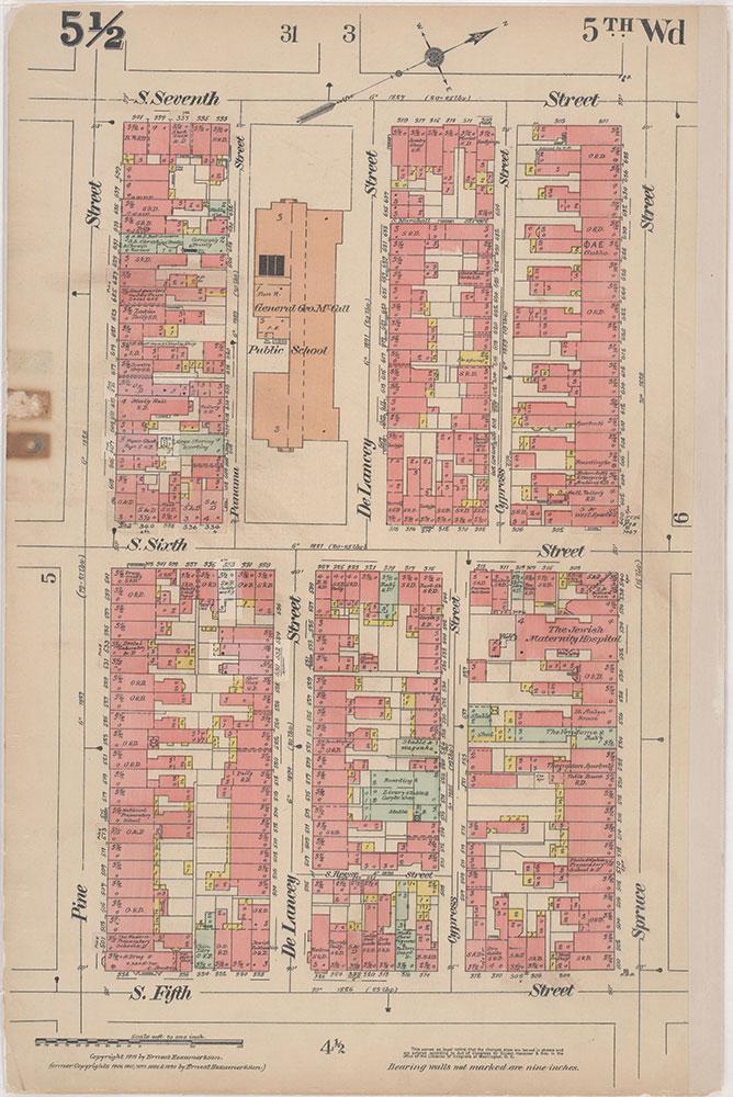 Insurance Maps of the City of Philadelphia, 1915-1916, Plate 5 1/2
