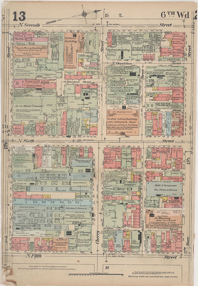 Insurance Maps of the City of Philadelphia, 1915-1916, Plate 13