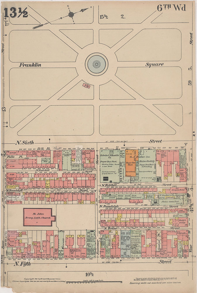 Insurance Maps of the City of Philadelphia, 1915-1916, Plate 13 1/2