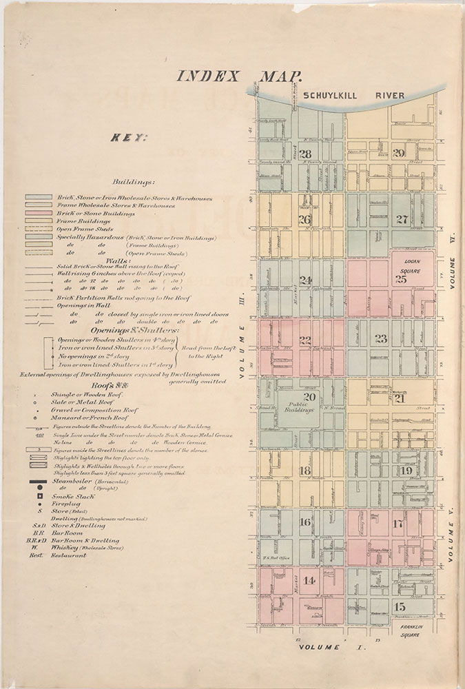 Insurance Maps of the City of Philadelphia, 1887, Index Map and Key