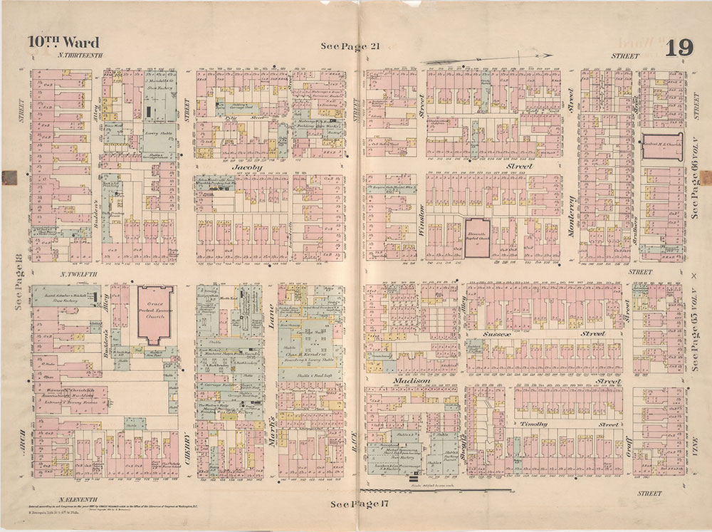 Insurance Maps of the City of Philadelphia, 1887, Plate 19