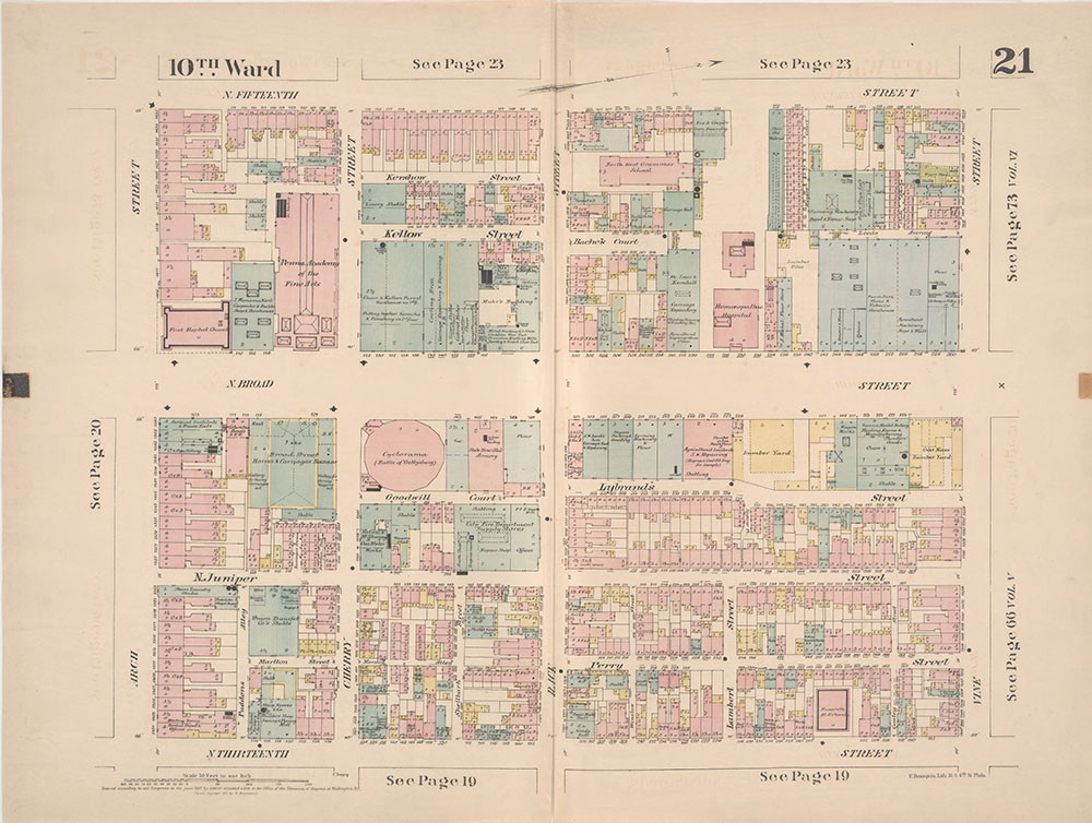 Insurance Maps of the City of Philadelphia, 1887, Plate 21