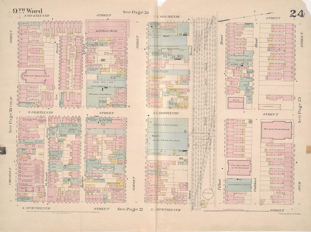 Insurance Maps of the City of Philadelphia, 1887, Plate 24