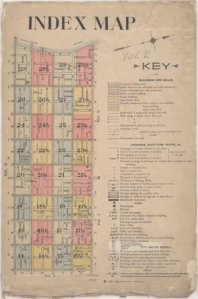 Insurance Maps of the City of Philadelphia, 1915-1920, Index Map and key