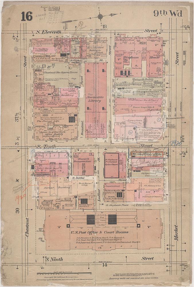 Insurance Maps of the City of Philadelphia, 1915-1920, Plate 16