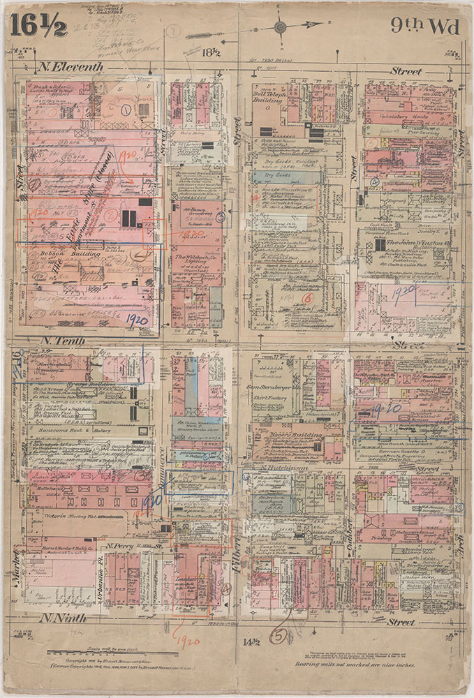 Insurance Maps of the City of Philadelphia, 1915-1920, Plate 16 1/2