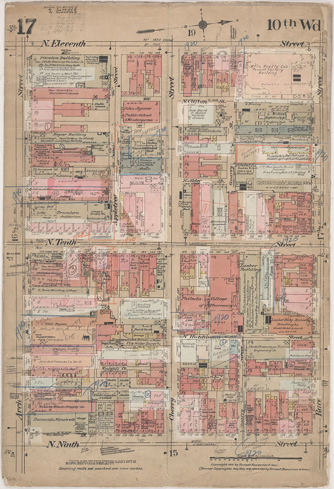 Insurance Maps of the City of Philadelphia, 1915-1920, Plate 17