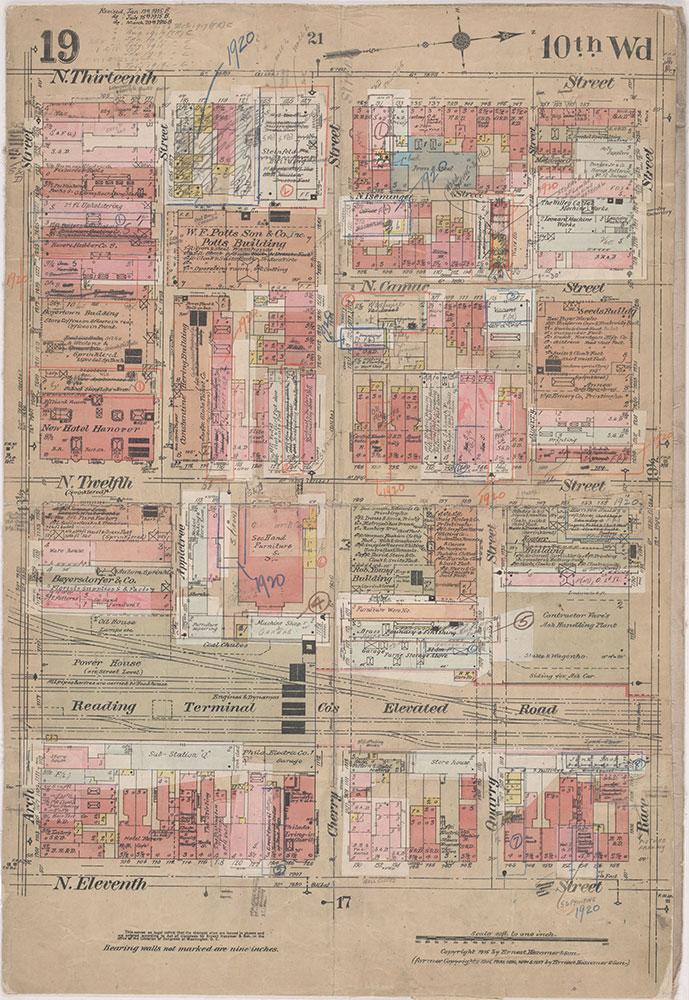 Insurance Maps of the City of Philadelphia, 1915-1920, Plate 19