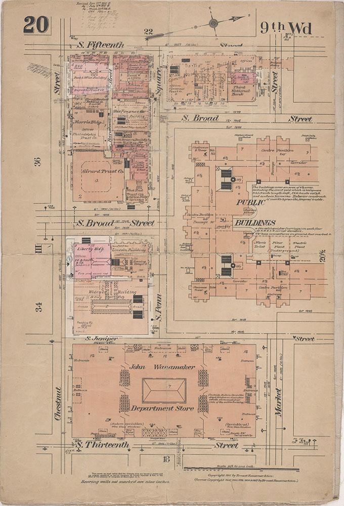 Insurance Maps of the City of Philadelphia, 1915-1920, Plate 20