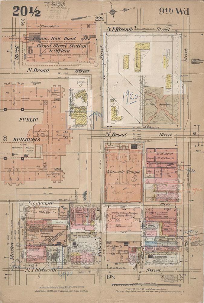 Insurance Maps of the City of Philadelphia, 1915-1920, Plate 20 1/2