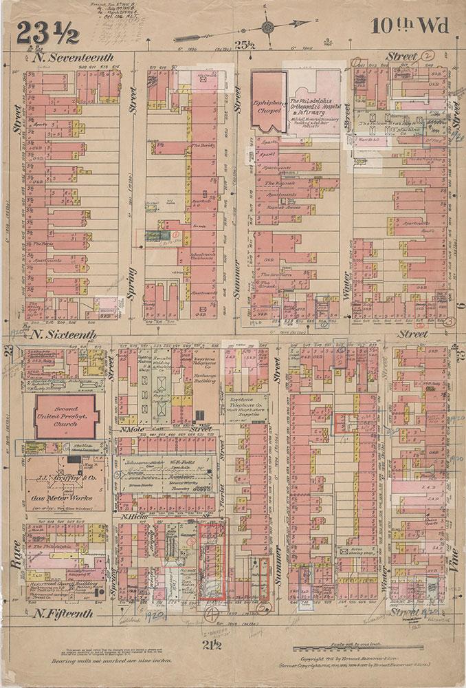 Insurance Maps of the City of Philadelphia, 1915-1920, Plate 23 1/2