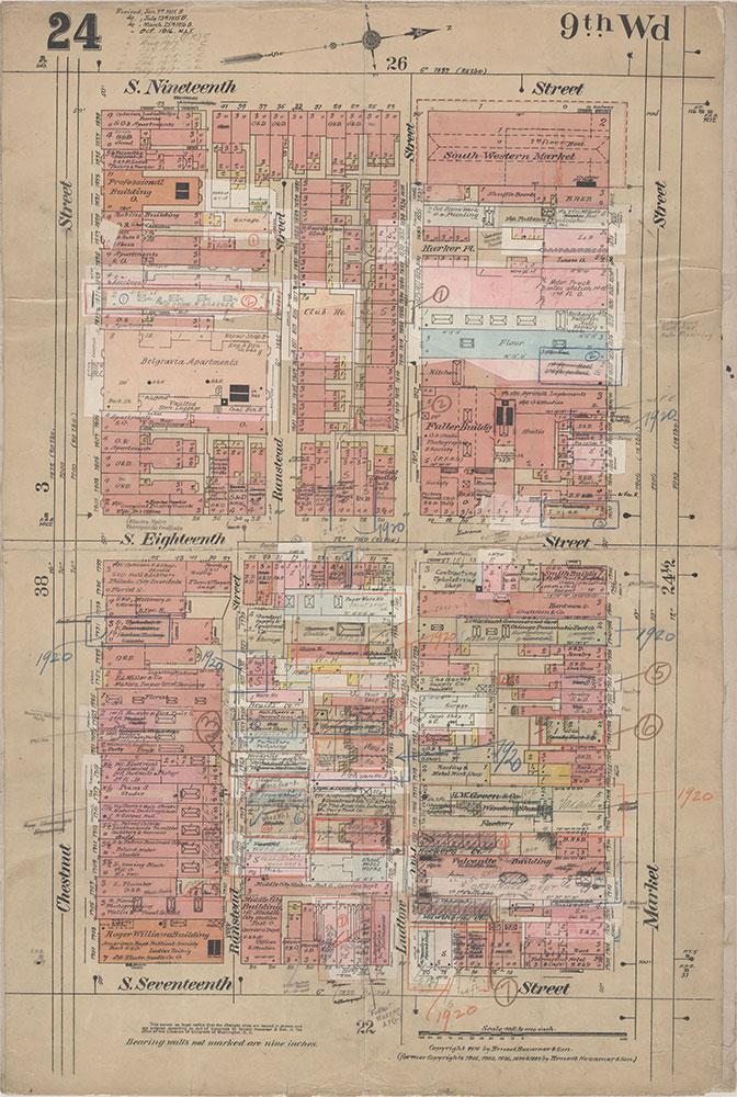 Insurance Maps of the City of Philadelphia, 1915-1920, Plate 24