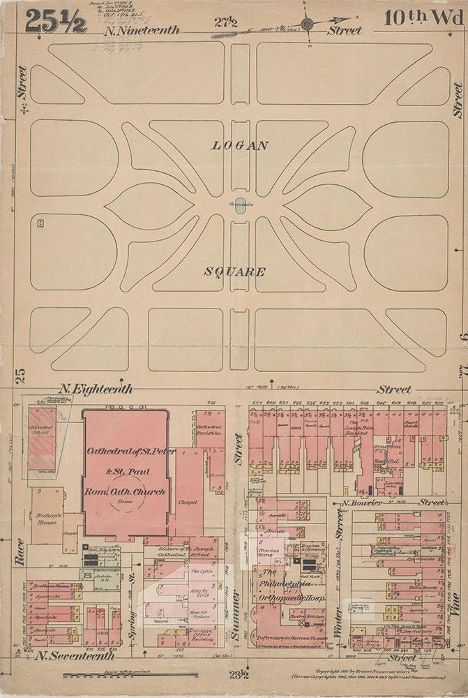 Insurance Maps of the City of Philadelphia, 1915-1920, Plate 25 1/2