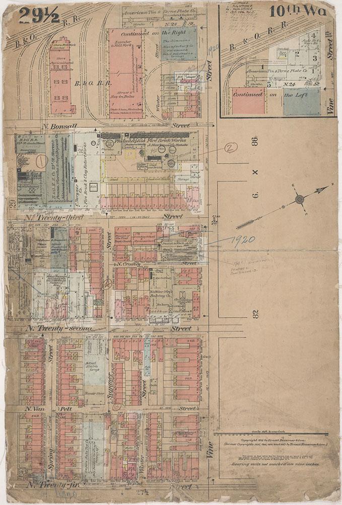 Insurance Maps of the City of Philadelphia, 1915-1920, Plate 29 1/2