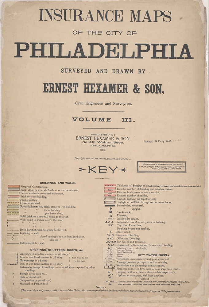Insurance Maps of the City of Philadelphia, 1908-1920, Title Page and Key