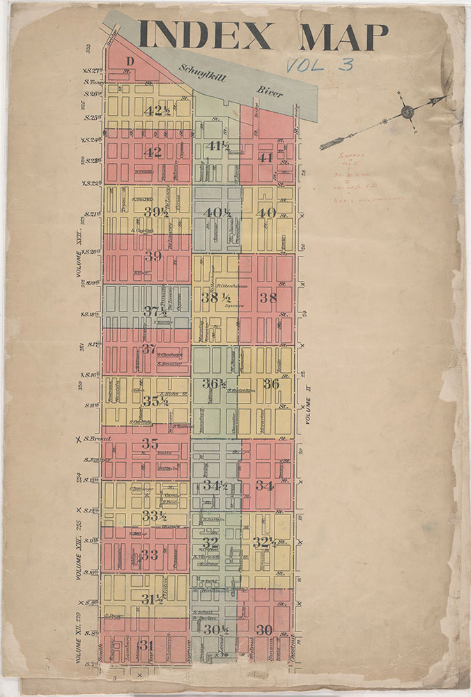 Insurance Maps of the City of Philadelphia, 1908-1920, Map Index
