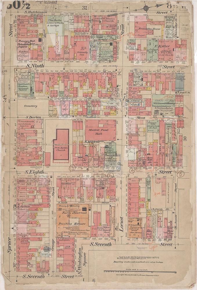 Insurance Maps of the City of Philadelphia, 1908-1920, Plate 30 1/2