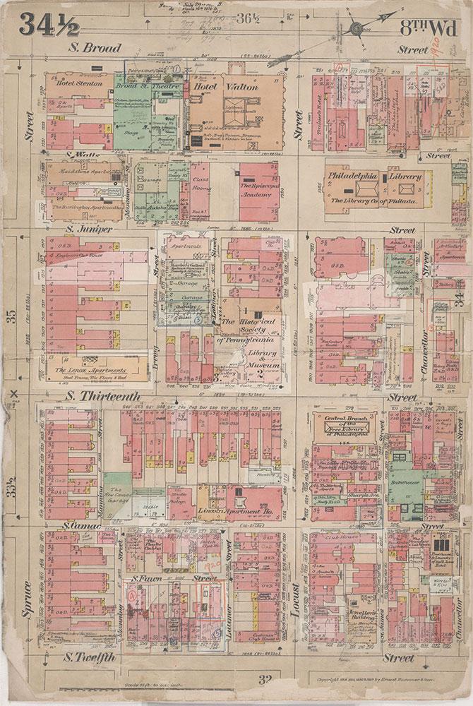 Insurance Maps of the City of Philadelphia, 1908-1920, Plate 34 1/2